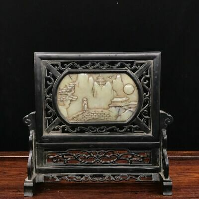"""10"""" Chinese antique sandalwood Mosaic white jade handcarved table screen statue"""