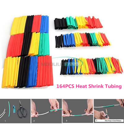 164PCS Assorted Polyolefin Heat Shrink Tube Tubing Insulated Sleeve Wire Cable