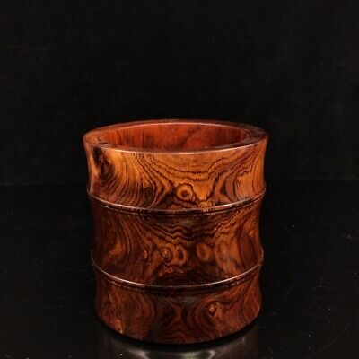"""6"""" Chinese old antique huanghuali wood handmade Pen container pen pot"""