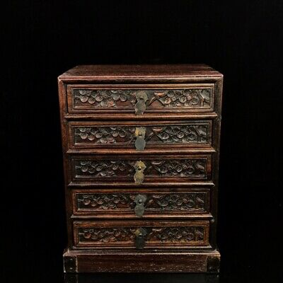 "11"" China antique huanghuali wood handcarved Plum blossom jewelry box"