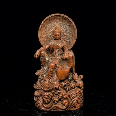 "7"" China antique Boxwood wooden handcarved Scripture guanyin Buddha statue"