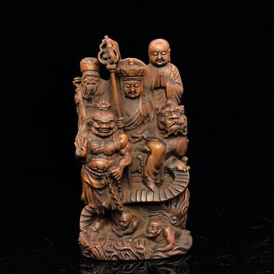 "7"" China antique Boxwood wooden handcarved Ksitigarbha Buddha statue"