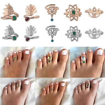 Celebrity Silver Flower Toe Ring Women Punk Adjustable Finger Foot Beach Jewelry