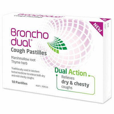 Bronchodual 10 Cough Pastilles Relieves Dry And Mild Chesty Coughs Dual Action