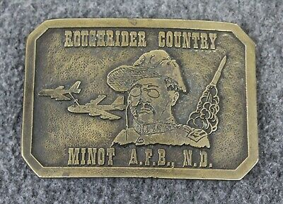 Vintage Roughrider Country Minot AFB N.D. Wyoming Studio Art Works Belt Buckle