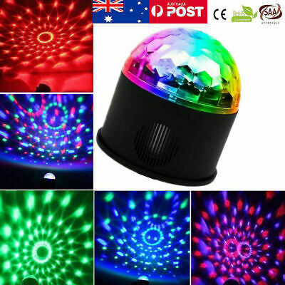 USB RGB LED Stage Light Lamp Crystal Magic Ball Disco Club DJ Party Voice-Activa