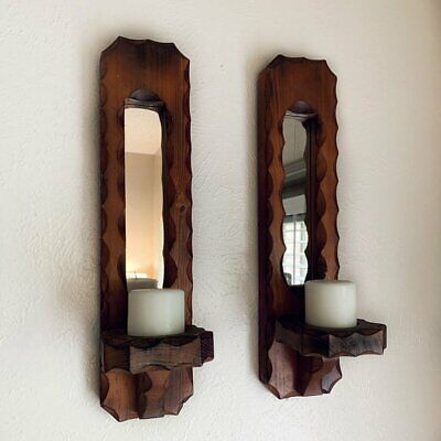 Wood Mirror Wall Candle Sconces | Wood Carved Sconce | Scalloped Edge