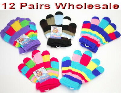 12 pairs Wholesale Kids Children Toddler Winter Warm Gloves Mittens Mixed