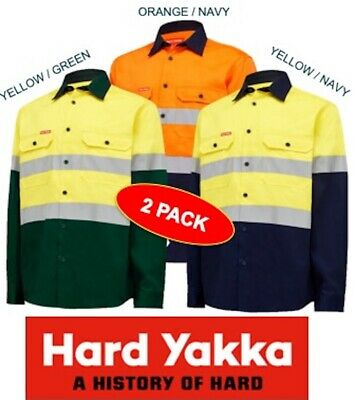 Yakka -2 Pack- Mens Hivis Long Sleeve Open Front Drill Work Shirt+Tape -Y04610