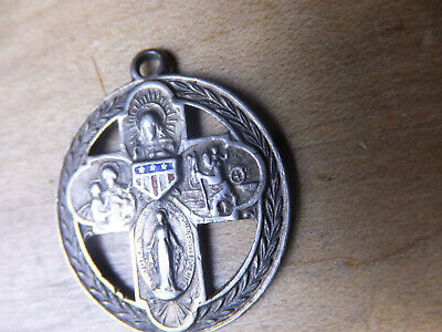 925 Sterling Silver  Miraculous Mary Catholic Medal Pendant Vintage