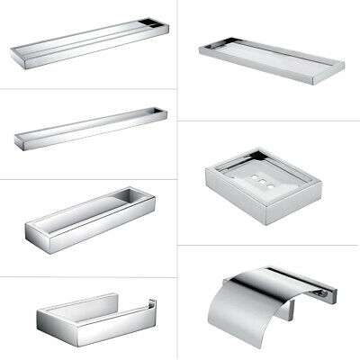 HOMELODY Chrome Towel Rack Rail Hook Toilet Roll Holder Soap Dish Accessories