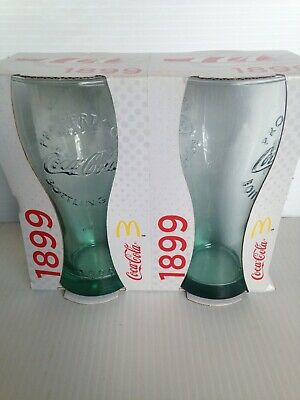 2 x -Coke Cola Glass 1899 In Box McDonalds 2015 Collectible. Slightly   Damaged