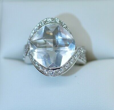 Vintage Art Deco Jewellery Ring White Sapphires Antique Dress Jewelry Size R 9