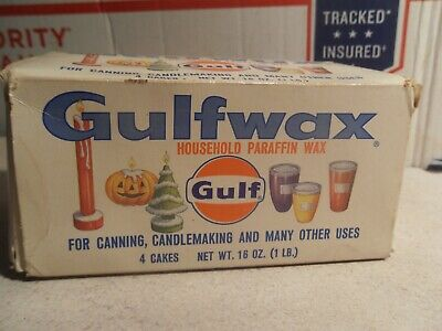 4 FULL VINTAGE Gulfwax Household Paraffin Wax Boxes Canning