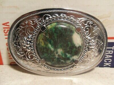 Western Style Silver Tone Belt Buckle With Polished Gem Stone