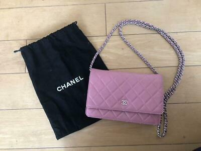 fa02958a364d Auth CHANEL WOC Shoulder Bag Pink Matelasse Crossbody Chain Silver Logo  B4828