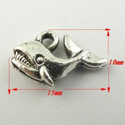 70 pcs Antiqued Silver Alloy Shark Craft Charm Pendant Findings 15x10x4mm
