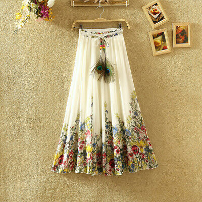 Women's Floral Bohemia Chiffon Maxi Long Skirt Elastic Waist Summer Beach Dress