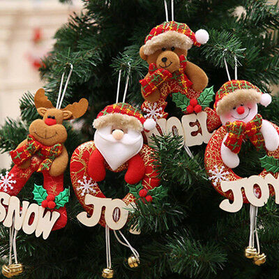 Santa Claus Merry Christmas Snowman Doll String Xmas Toy Hanging Ornament Decor