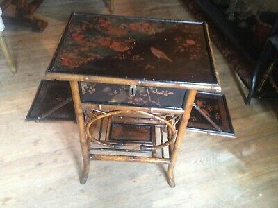 Vintage Bamboo Chinoisserie Lacquered Sewing Table