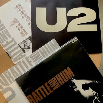 U2 RATTLE AND Hum Vinyl 2LP Records w/Retail 2-sided flat VG+