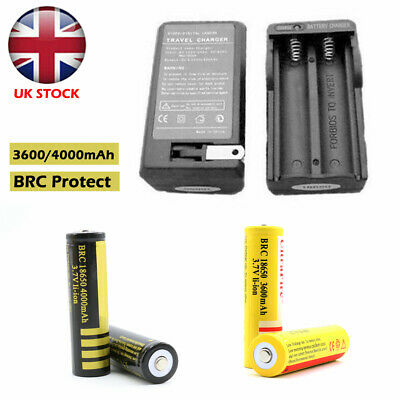 BRC 18650 4000mAh 3600mAh Rechargeable Lithium 2x Battery + Charger CE Approved