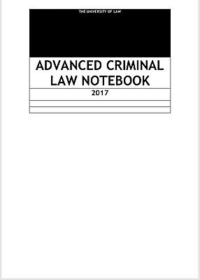 LPC Notes 2017, The University of Law, Advanced Criminal Law - Distinction