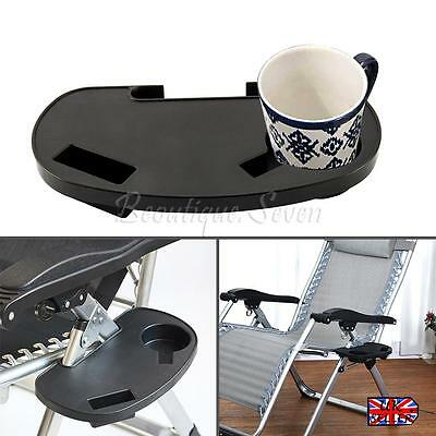 Lounge Chair Side Tray Cup Holder Folding For Outdoor Camp Picnic Beach Gar US