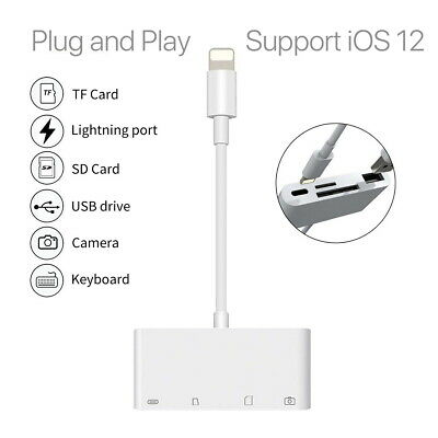 8Pin to SD Card Reader USB Camera Memory Micro Adapter For iPhone iPad 4in1