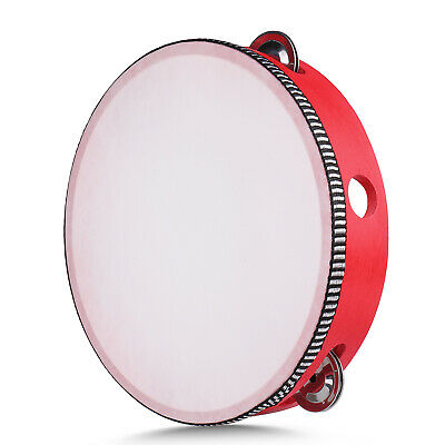 "Red Handheld Tambourine 8"" Inch Single Row 5 Pair Jingles Red Hand Percussion"