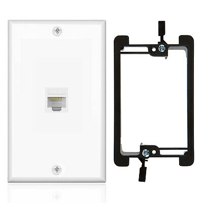 Ethernet Cat6 Wall Plate 1 Port Single Gang Plug w/ Low Voltage Mounting Bracket