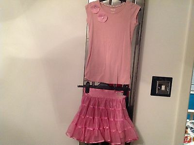 Girls pink party outfit Disney Tinkerbell Skirt age 8 yrs look