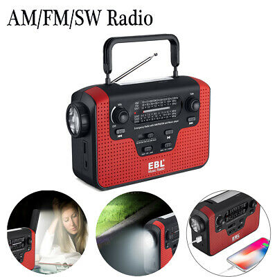 Dynamo Wind-Up Solar Portable AM FM SW Radio with built-in LED Torch USB Charger