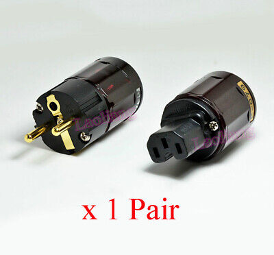 2X Gold Plated C-079 + P-079e Schuko Europe EU Power Plug IEC Audio Connector