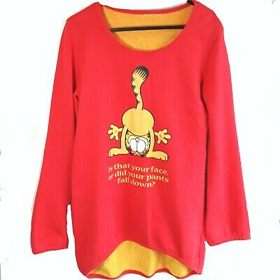 Garfield cat Jumper Sweater Top Size Small to Medium Red Vintage 1990s