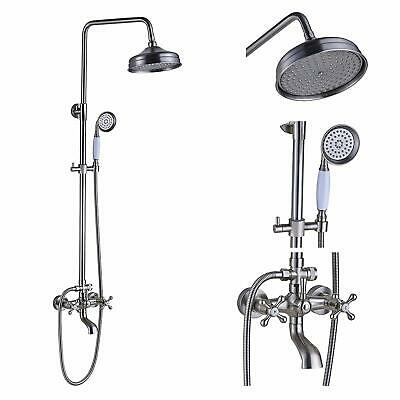 Brushed Nickel 8-Inch Rain Shower Faucet Set Wall Mount Adjustable +Hand Sprayer