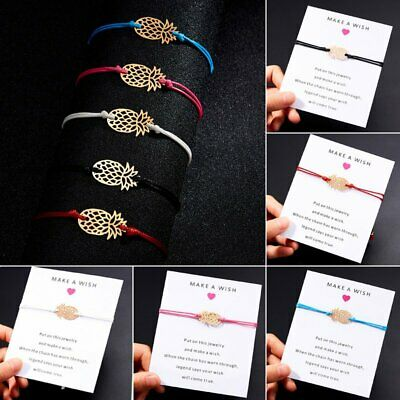 Fashion Women Multi-color Make a wish Card Bracelets Rope String Lucky Bangle