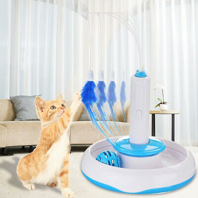 Feather Interactive Rotating Pet Cat Toys Electric Teaser Funny Cat Stick Lovely