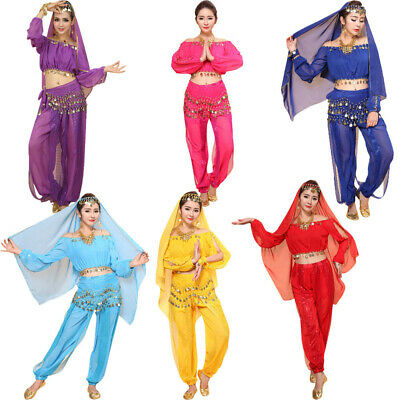 Women Belly Dance Costumes Set Indian Dancing Dress Clothes Tops Pants New 2019