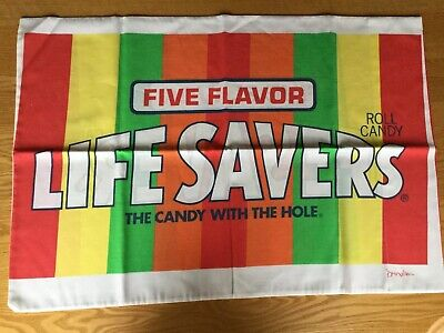 "Vintage Pillowcase Five Flavor LIFE SAVERS Roll Candy 29""x20"""