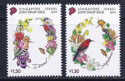 Singapore Israel 2019 Joint Issue Sets 2 Stamps Mnh Birds Flowers
