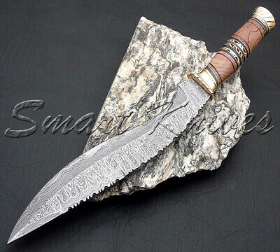Smart Knives Hand Made Damascus Steel Hunting Kukri Bowie Knife Handle Olive Woo