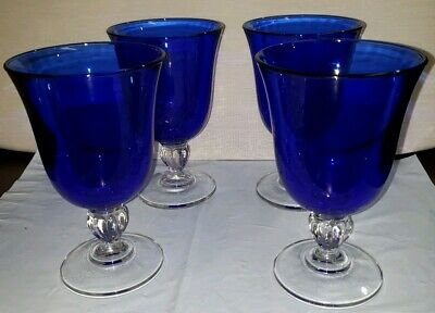 Cobalt Blue Hand Blown Glass 12oz Set of 4 Flare Top Goblet With Clear Stem 419