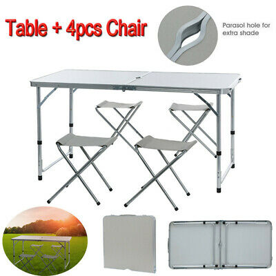 Folding Table Portable Plastic Indoor Outdoor Picnic Party Camping Tables +Chair