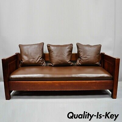 Gustav Stickley Settle #225 Even Arm Brown Leather Mission Oak Arts & Crafts