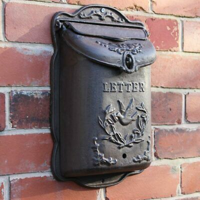 wall mounted cast iron post box outdoor wall letters mailbox dove detail