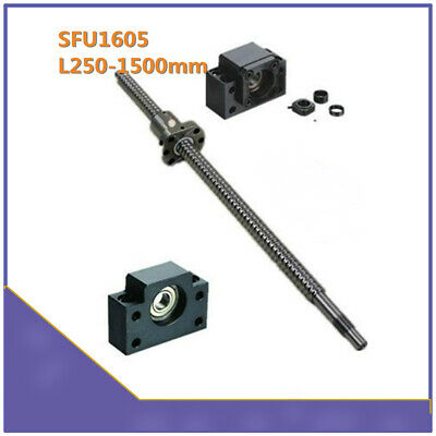 Ballscrew SFU1605 L250MM-1550MM End machine With Nut & BK12/BF12 End Supports