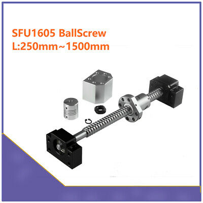 SFU1605 L250mm-1550mm CNC Ball Screw Set & Ballnut Housing & BK/BF12 & Coupler