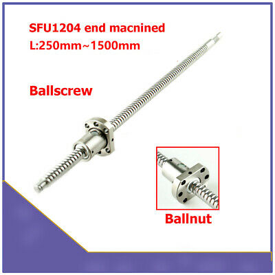 SFU1204 RM1204 250mm-1500mm Rolled Ball Screw End Machined + Ballnut For CNC