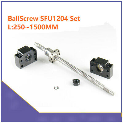 SFU1204 RM1204 250mm-1500mm CNC Ball Screw & Single Ballnut BF/BK10 End Support